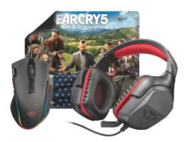 Trust Far Cry 5 Gaming Bundle 3-in-1. Trust GXT 344 Creon peakomplekt + Trust GXT 188 Laban RGB mänguri hiir + FC5 Limited Edition hiirematt + tasuta Far Cry 5!