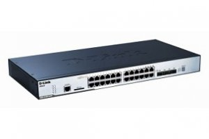 D-Link 24-pordiga 10/100/1000 Layer2 Stackable PoE Gigabit Switch Combo 1000T/SFP